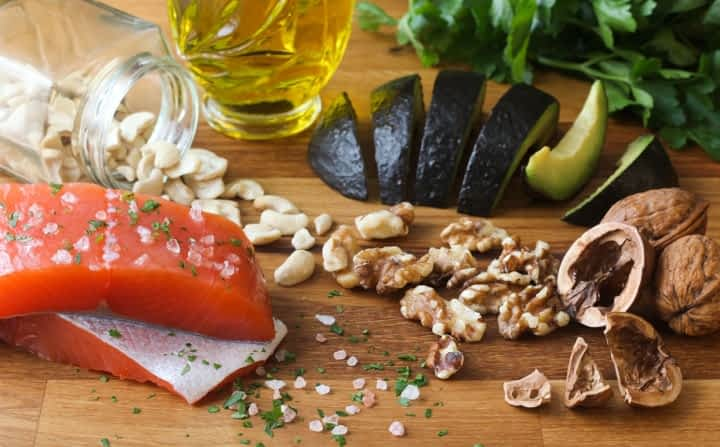 raw salmon, avocados, and walnuts are part of an anti-inflammatory diet