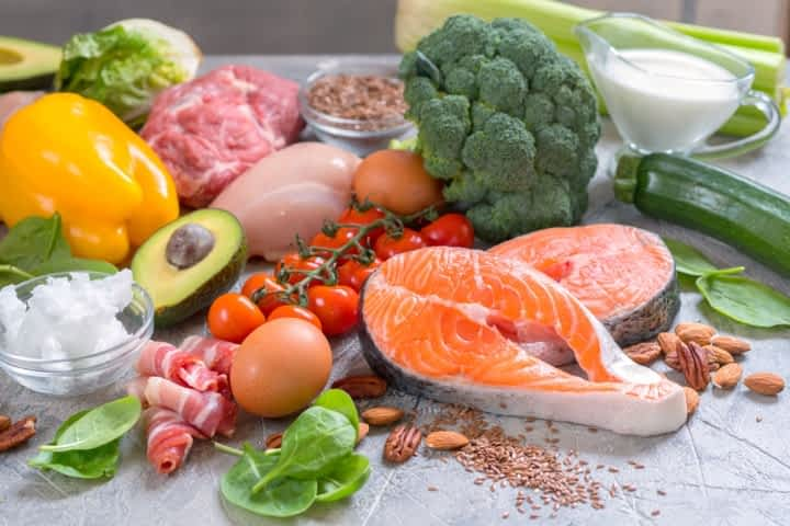 Foods like salmon, eggs, vegetables and nuts are part of a Low Carb High Fat/Ketogenic Diet Plan